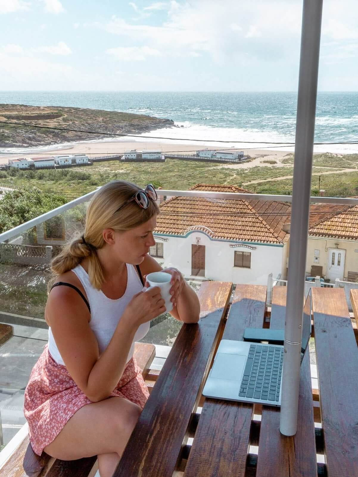 Jo relaxing at Lapoint while enjoying a coffee and working.