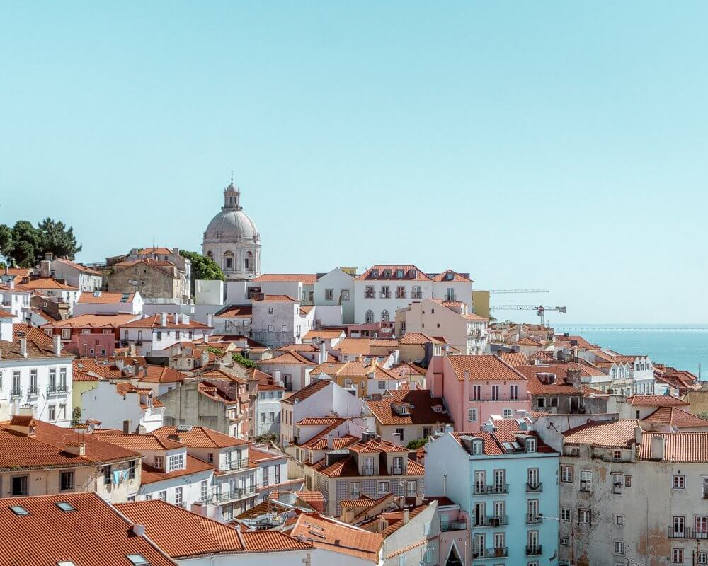 View of the beautiful Lisbon rooftops in Alfama.