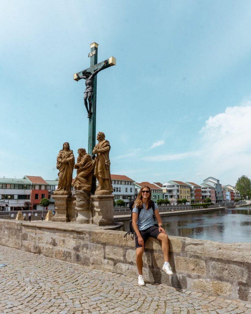 Dom taking in the views from Pisek bridge in the Czech Republic.