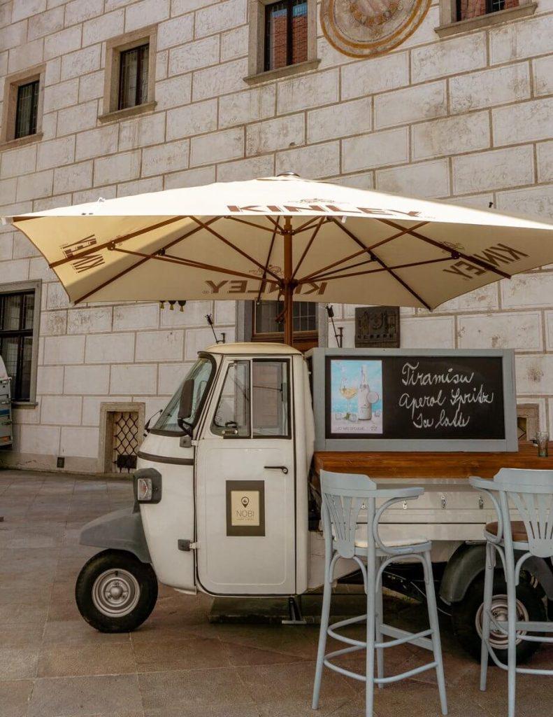 Coffee truck in Cesky Krumlov.