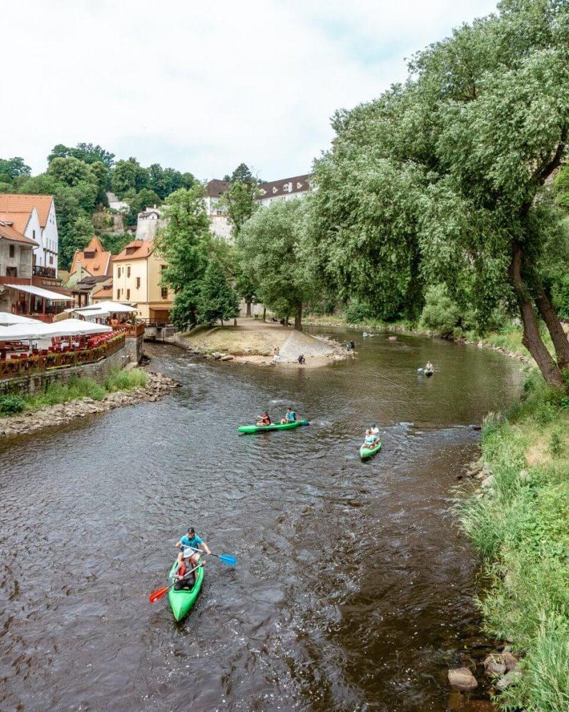 Rafts on the Vltava River in Cesky Krumlov.