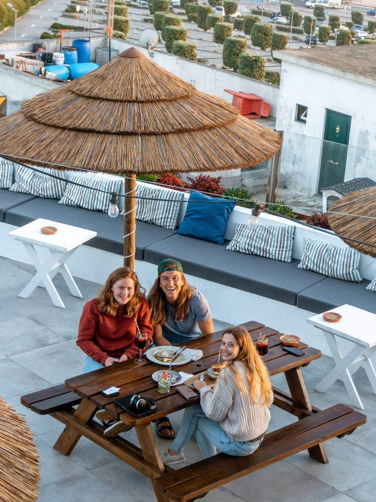 Dom and two friends at Lapoint cowoking and coliving space in Ericeira