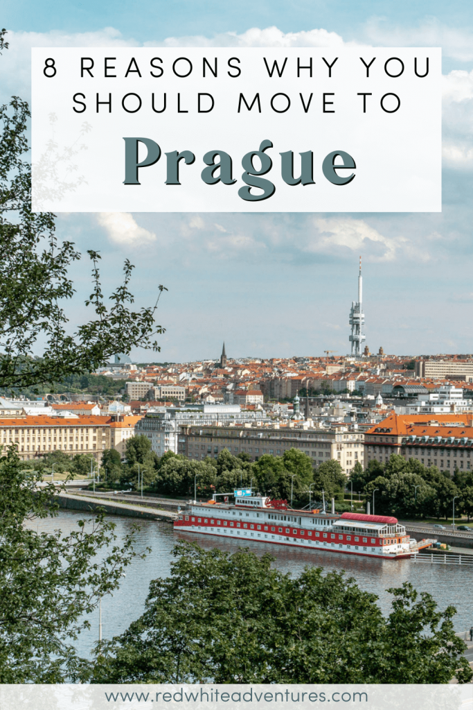 A beautiful view over the Vltava River in Prague and the TV tower.