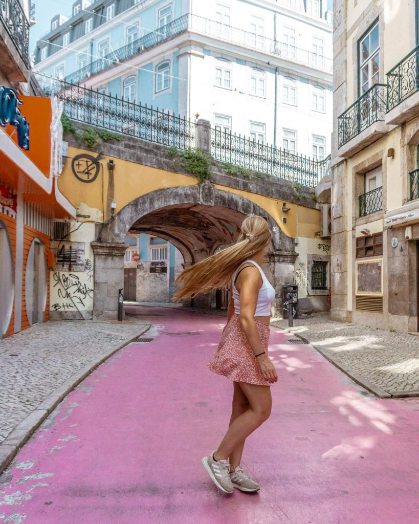The famous Pink Street in Lisbon.