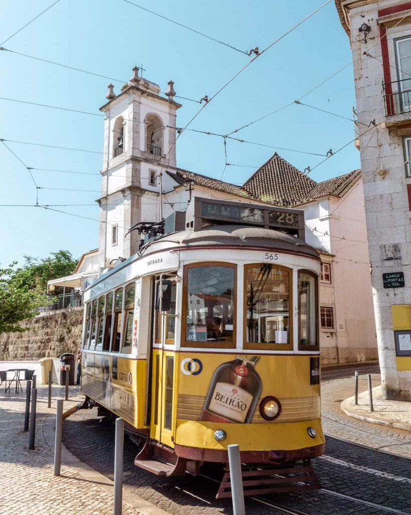 The famous 28 tram in Lisbon.