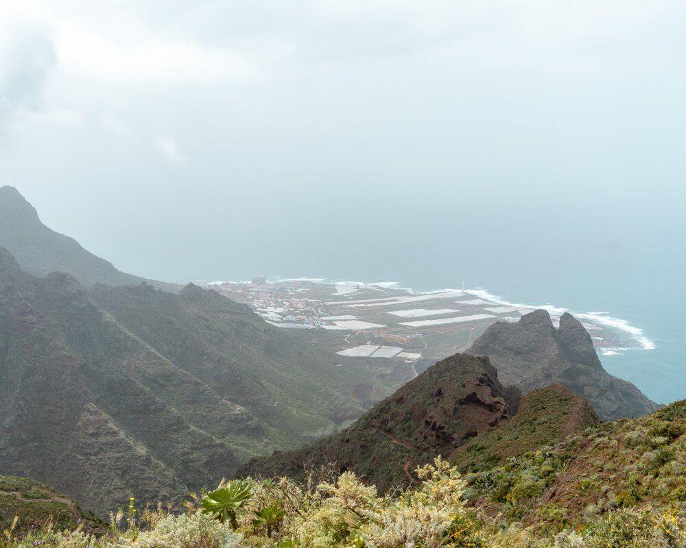 Views of Punta del Hidalgo down in the distance.