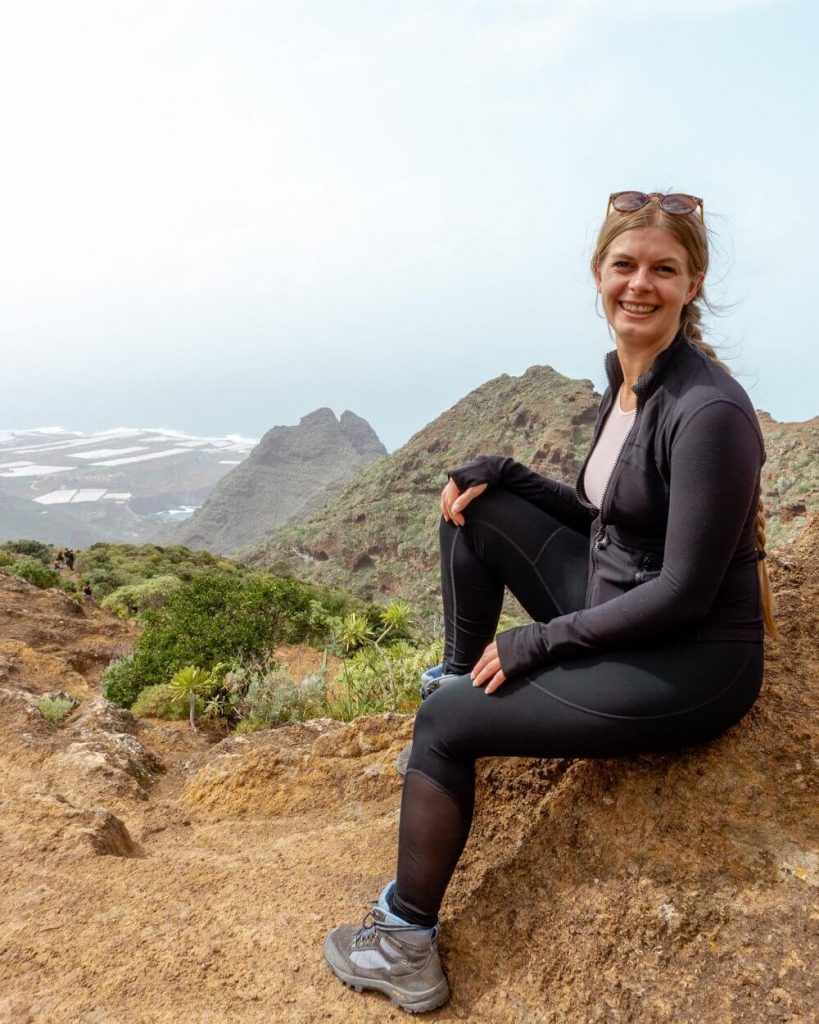 Jo taking in the beautiful views of the Punta del Hildalgo trail going up to Chinamada.