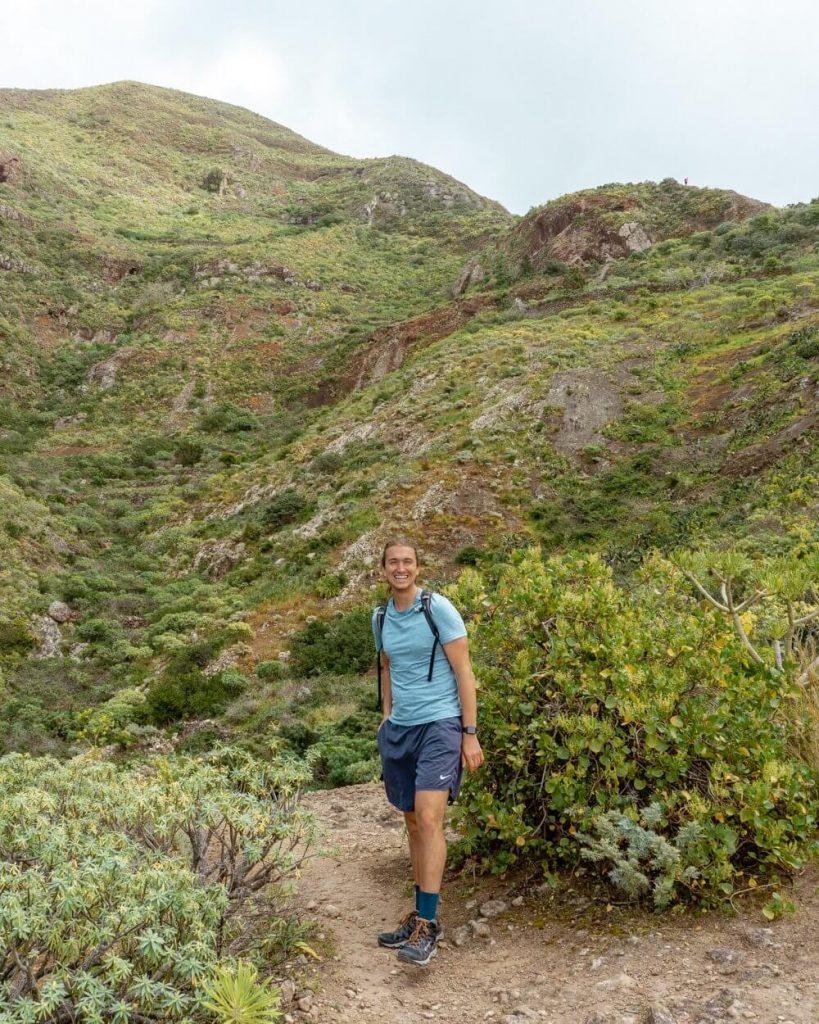 Dom enjoying hiking in the Anaga forest near Punta del Hidalgo.