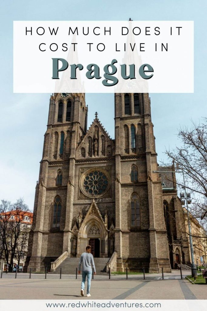 Cost of living in Prague Pin for Pinterest. You can see the beautiful Namesti Miru.