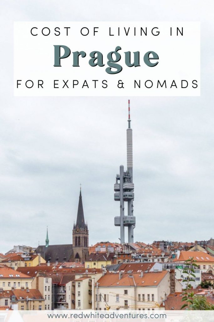Cost of living in Prague Pin for Pinterest. You can see the beautiful Prague TV tower.