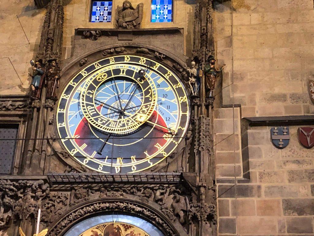 Famous astronomical clock in Prague, Czech Republic.