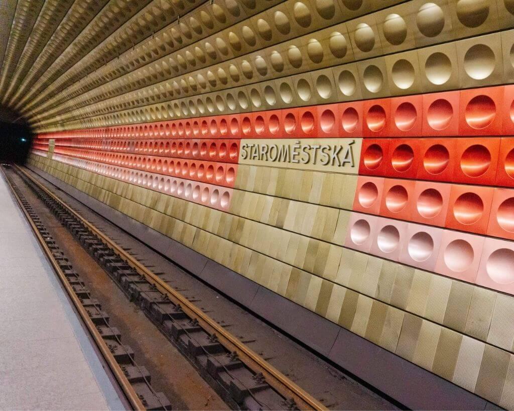 Underground metro stations in Prague.