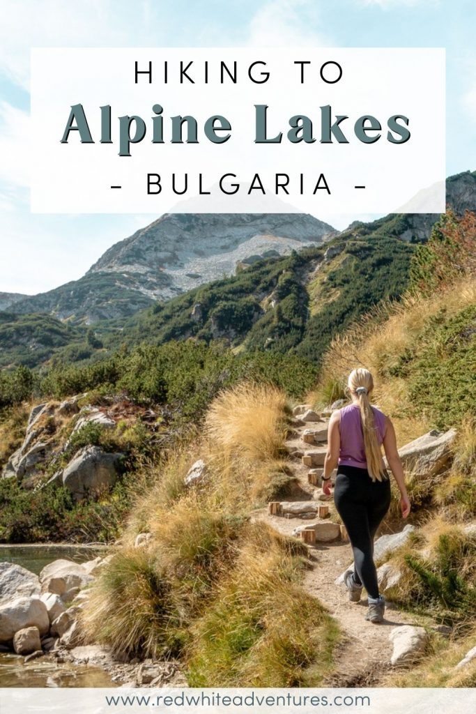 Pin for Pinterest of alpine lakes in Bulgaria.