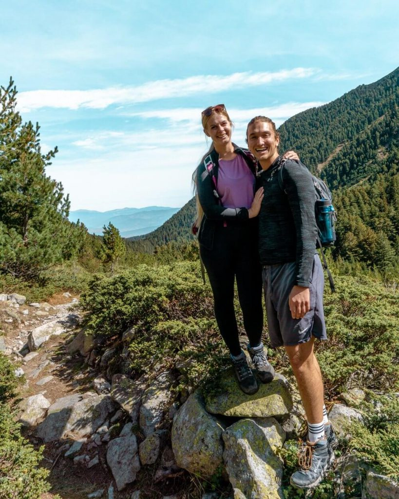 Dom and Jo hiking up to Vihren Hut.
