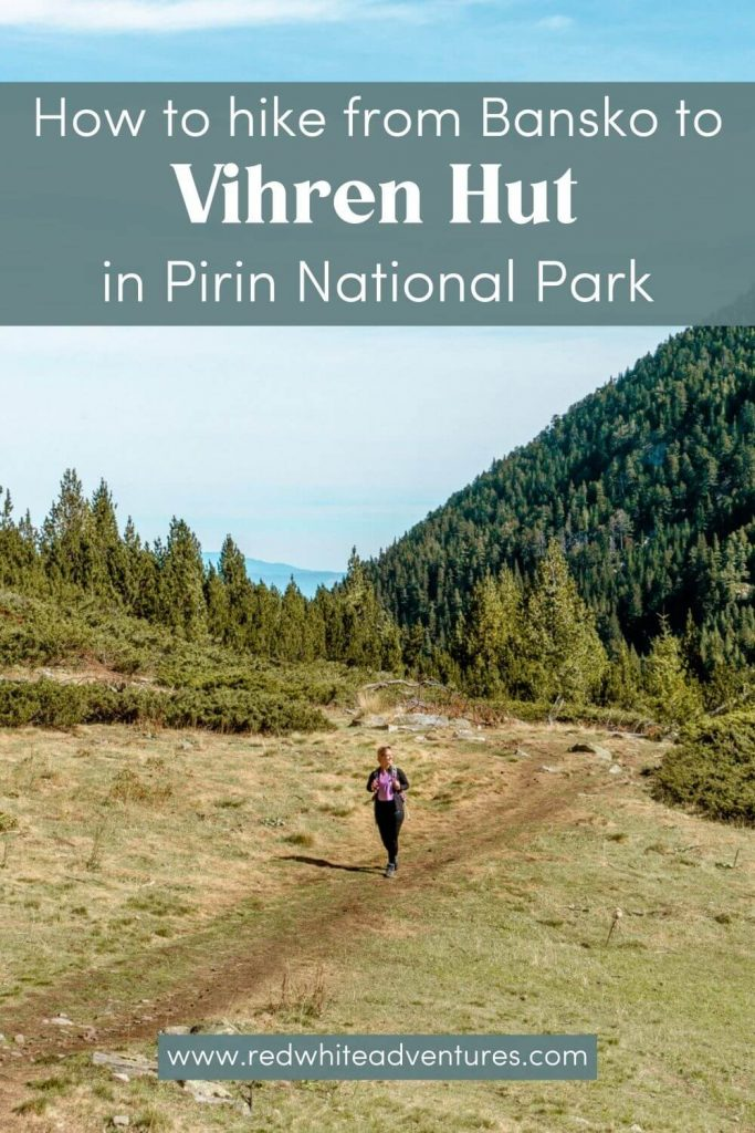 Pin for Pinterest of hiking up to Vihren Hut from Bansko.