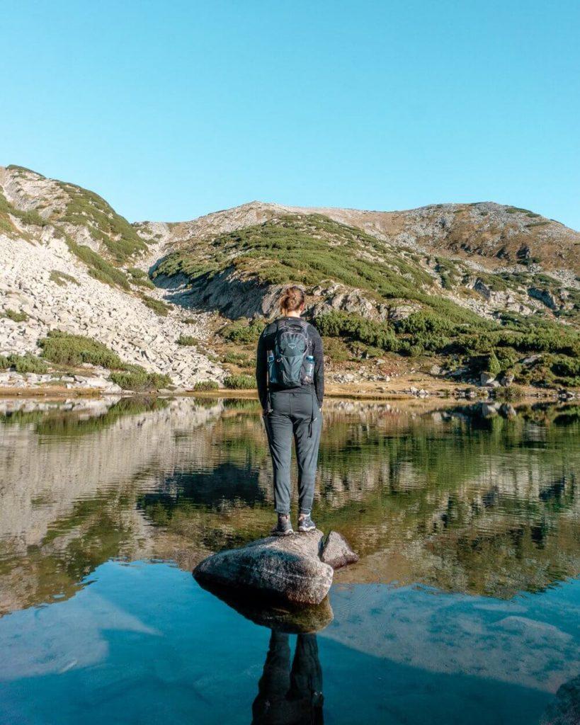 Dom enjoying the beautiful lake in the Pirin National Park.