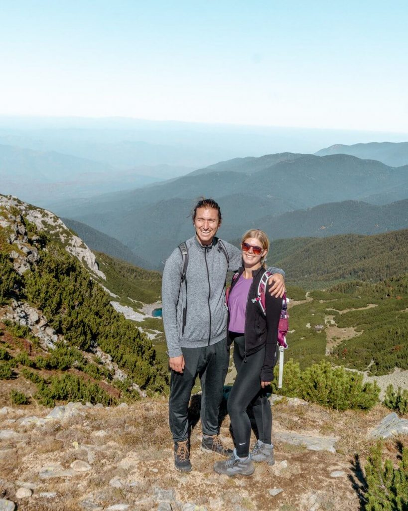 Dom and Jo exploring the Pirin Mountains.