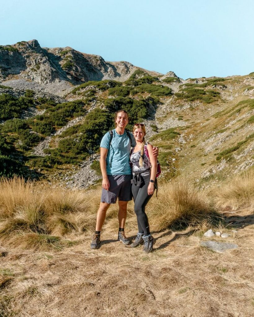 Dom and Jo hiking in Bulgaria.